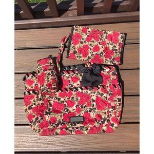 Betsey Johnson Floral & Leopard Diaper Bag Set